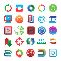 Rotate and 360 web icons vector set.