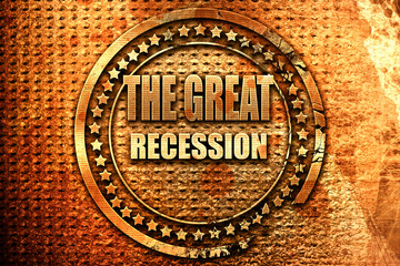 Recession sign background, 3D rendering, grunge metal stamp