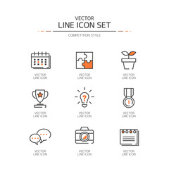 Competition Line icon set