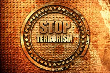 stop terrorism, 3D rendering, grunge metal stamp