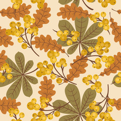 Autumn/fall leaves and berries seamless pattern