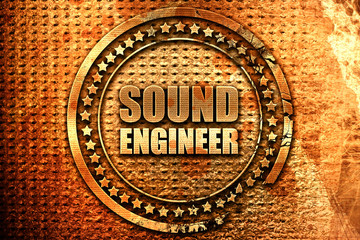 sound engineer, 3D rendering, grunge metal stamp