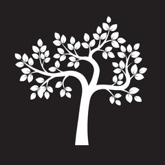 White Tree and Leafs. Vector Illustration.