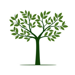 Green Tree and Leafs. Vector Illustration.