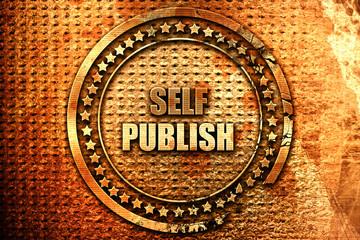 self publishing, 3D rendering, grunge metal stamp