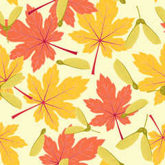 Autumn/fall maple leaves seamless pattern