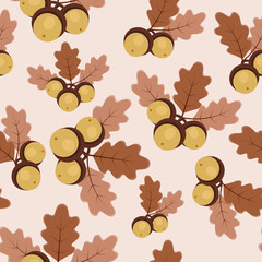 Autumn/fall oak leaves and acorns seamless pattern