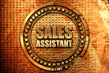 sales assistant, 3D rendering, grunge metal stamp