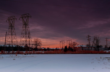 Winter sunset over the