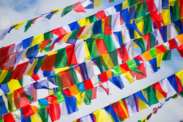 colorful prayer flags in Nepal