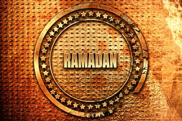 Ramadan, 3D rendering, grunge metal stamp