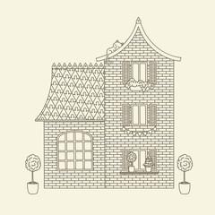 Hand drawn vector house