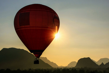 Hot air balloon flying in Vang Vieng, Vientiane Province, Laos