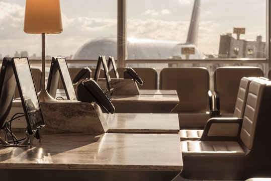 Airport lounge in afternoon sun