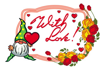 Oval label with roses, cute gnome holding heart . Vector clip art.