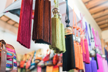 silk on a street market in Fes, Morocco