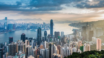 Panorama view on Hong Kong Peak, Hong Kong