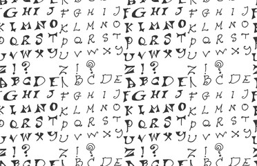 Hand drawn doodle letters and decorative elements seamless pattern. Black and white background.