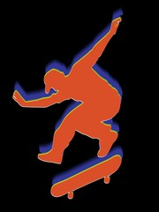 Silhouette of skateboarder, vector draw
