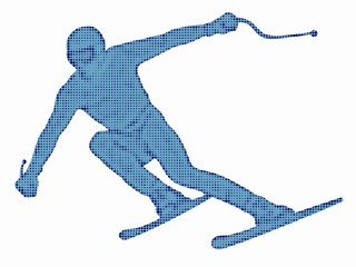 Silhouette of skier, vector draw