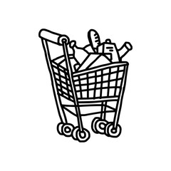 illustration vector hand drawn doodle of supermarket shopping cart isolated on white background