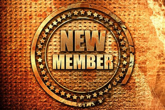new member, 3D rendering, grunge metal stamp