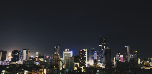 City view modern building at night in Bangkok city, Thailand