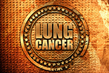 lung cancer, 3D rendering, grunge metal stamp