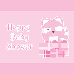 Baby shower card with cute raccoon and birthday gifts suitable for baby shower greeting card, invitation card, and postcard