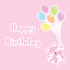 Birthday card with cute raccoon brings colorful balloons suitable for birthday greeting card, invitation card, and postcard