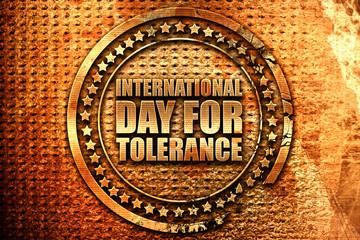 international day for tolerance, 3D rendering, grunge metal stam