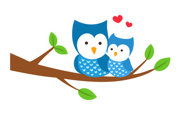 illustration of isolated owl sitting on a branch