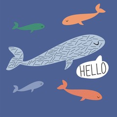 "Vector poster with cartoon whales. Hand written ""Hello""."