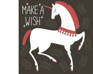 "Charming vector unicorn. Handwritten: ""make a wish""."