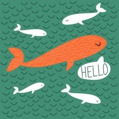"""Vector illustration. Cartoon whales. Hand written """"Hello""""."""
