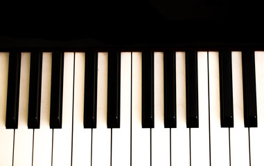 musical instrument, piano keys on black background