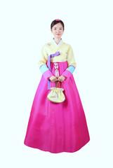 한국의 전통의상을 입은 여자