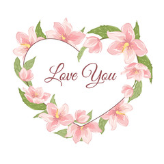 Heart shape floral wreath garland foliage with pink rose magnolia sakura hellebore flowers. Love you text placeholder. Valentine Day greeting card template. Vector design illustration.