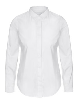 Womans white business shirt on invisible mannequin isolated on white