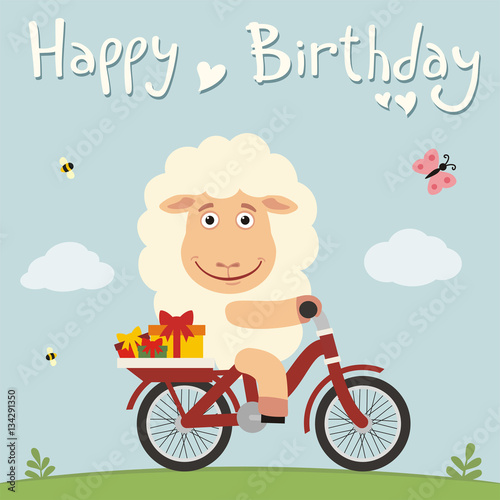 Happy Birthday Funny Sheep On Bike With Gifts Birthday Card With