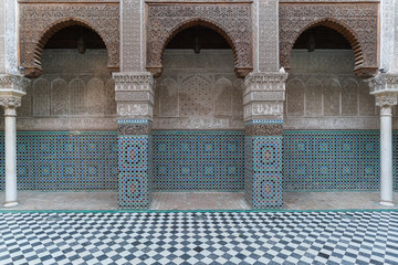 Moroccan ancient islamic school - madrasa in Fez, Morocco, Africa