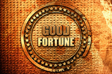 good fortune, 3D rendering, grunge metal stamp