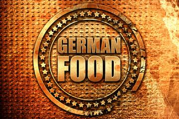 german food, 3D rendering, grunge metal stamp