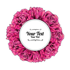 Flower frame with beautiful rose.Vector illustration