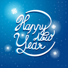 Happy New Year Font on blue and white snow vector background. Gr