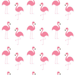 Flamingo set. Seamless Pattern Exotic tropical bird. Zoo animal collection. Cute cartoon character. Decoration element. White background. Isolated. Flat design.