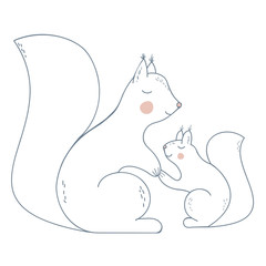 Squirrel Mother and Chiild