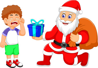 funny Santa Claus cartoon giving a gifts to little boy crying