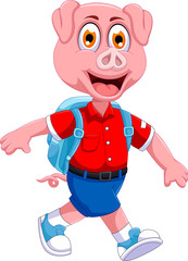 funny pig cartoon going to picnic
