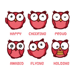 owl cartoon character with different expressions